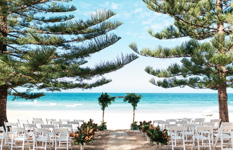 boho tropical ceremony at Whale Beach